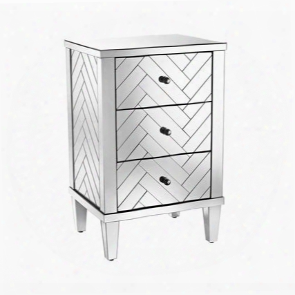 "Chatelet Collection 1114-212 19"" Chest With 3 Drawers Black Metal Knobs Tapered Legs And Mirrored Panels In Clear"