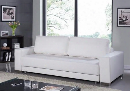 "Cloe Collection Tc-1215-wh 95"" Sofa Bed With Eco-leather Upholstery Stainless Steel Legs And Tufted"