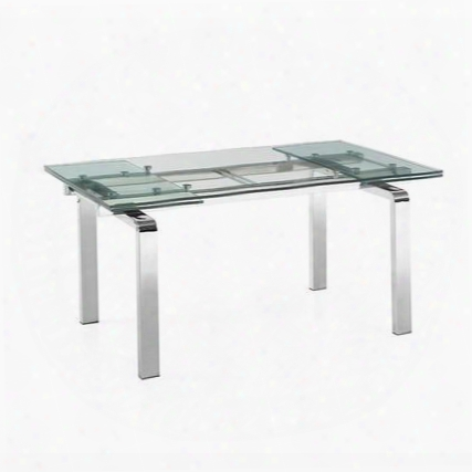 "Cloud Collection Cb-d2048-ss 63"" - 95"" Dining Table With Extendable Glass Top And Metal Frame In Stainless Steel"