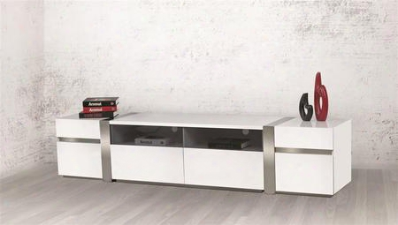 "Cristallinno Collection Cb-3390tv-lg 94"" Entertainment Center With 6 Drawers 2 Open Shelves And Mdf Construction In High Gloss White"