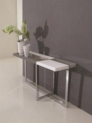 "Domino Collection Tc-2605 55"" Console Table With Chrome Metal Legs Stretchers And Mdf"