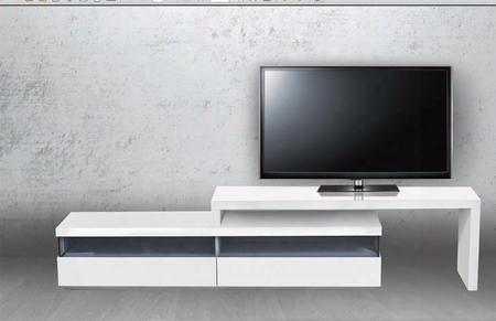 """Easy Collection Cb-3980tv 71"""" - 108"""" Extendable Entertainment Center With 2 Drawers Mdf Construction And 2 Shelves In High Gloss White"""