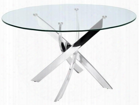 "Galaxy Collection Cb-f2133 51"" Round Dining Table With Chrome Metal Legs And Glass"