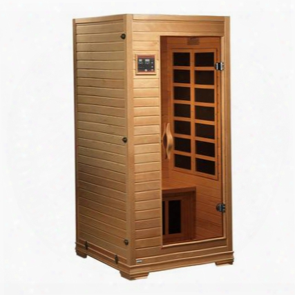 "Gdi-6109-01 77"" Low Emf Far Infrared Sauna With 1-2 Person Capacity 6 Carbon Heating Elements Interior And Led Control Panel Roof Vent And Tempered Glass"