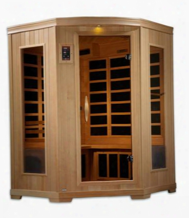 """Gdi-6235-02 77"""" Low Emf Far Infrared Sauna With 3 Person Capacity 10 Carbon Heating Elements Exterior Accent Lighting Radio With Auxiliary Connector And"""