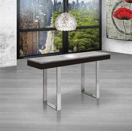 "Glacier Collection Cb-3451-console 55"" Console Table With Wenge Veneer Gray Marble Top And Chrome Metal"