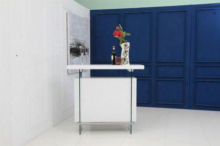 "Il Vetro Collection Cb-111-bar 47"" Bar With Mdf Construction 4 Shelves And Integrated Glass Legs In High Gloss White"
