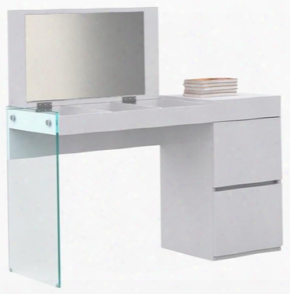 "Il Vetro Collection Cb-111-w-vanity 49"" Vanity With Flip Top Mirror And 2 Drawers In High Gloss White"