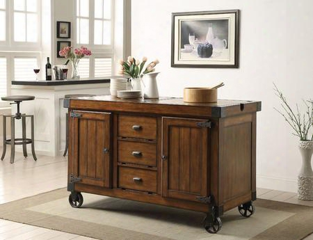 "Kabili Collection 98186 57"" Kitchen Cart With 3 Drawers 2 Doors 2 Shelves Oversized Caster Wheels Poplar Wood And Qiu Wood Veneer Materials In Antique"