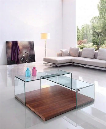 "Kinetic Collection Cb-1100-wal 47"" Coffee Table With Walnut Veneer Base Grounds Shelf And Clear Glass"