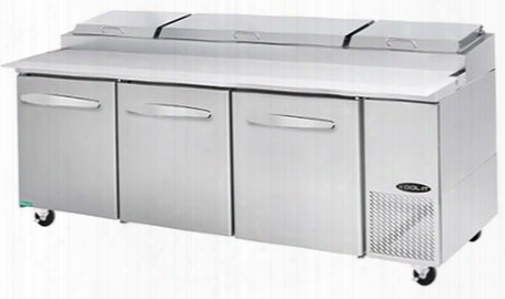 "Kpt933 93"" Pizza Prep Table With 30.8 Cu. Ft. Capacity 3 Doors 6 Shelves 12 Pans 1/2 Hp In Stainless"