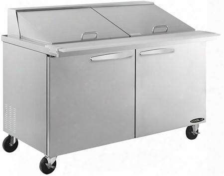 "Kstm60 60"" Sandwich Prep Tables Mega Tops With 16 Cu. Ft. Capacity 2 Doors 2 Shelves 24 Pans 3/8 Hp In Stainless"