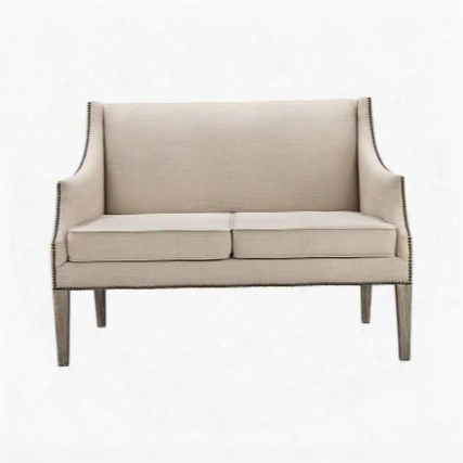 "Lenox Hill Collection 1139-020 51"" Sofa With Nail Head Accents Fabric Upholstery Distressed Tapered Legs And Wood Frame In Natural"