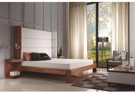 """Lyon Collection Cb-709w-k 96"""" King Size Platform Bed With Walnut Veneer Frame And White Eco-leather"""