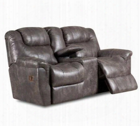 "Montgomery Collection 216-43/4303-14 77"" Double Reclining Console Loveseat With Storage Faux Leather Upholstery Plush Padded Arms Stitched Detailing And"
