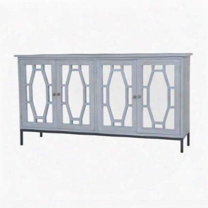 """Presidio Collection 7011-399 60"""" Cabinet With 4 Doors Mirrored Panels Metal Hardware Metal Footed Base And Mahogany Material In Gravesend Grey"""