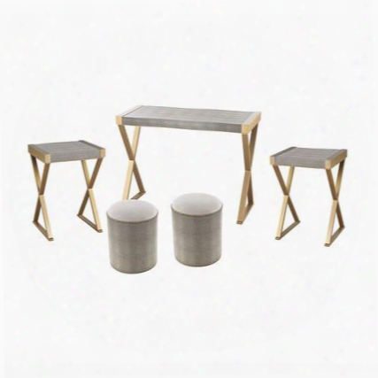 Samds Collection 3169-024/s5 5 Pc Furniture Set With 2 End Tables 2 Stools Console Table Nail Head Accents And Faux Shagreen Material In Gold And Grey