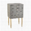 "Elm Point Collection 3169-021 48"" Chest with 4 Drawers Metal Handles Gold Tapered Legs and Faux Shagreen Material in Grey"