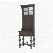 "Heathcliff Collection 7011-316 70"" Tall Hall Tree with 1 Drawer 3 Hooks Metal Hardware Glass Panels Turned Legs and Mahogany Materials in Heritage Grey"