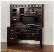 "Monterey Collection 2983MT 54"" Desk & Hutch with Keyboard Tray 4 Drawers Glass Door and 2 Adjustable Shelves in Merlot"