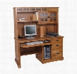 "Sedona Collection 2863RO 58"" Computer Desk & Hutch with Keyboard Pullout Tray 3 Dovetail Drawer and Waterfall Glass Doors in Rustic Oak"