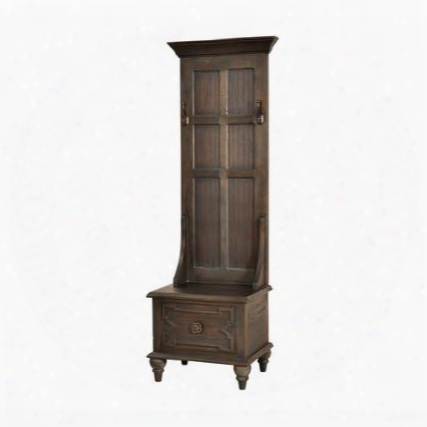"""Tobin Collection 7011-317 70"""" Tall Hall Tree With 1 Drawer 2 Hooks Metal Hardware Turned Legs Distressed Look And Mahogany Materials In Heritage Grey Stain"""