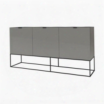 "Vizzione Collection Cb-1411-bg 71"" Buffet With Mdf Construction Painted Metal And 3 Doors In High Gloss Light Gray"