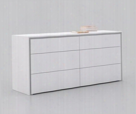 "Zen Collection Cb-1104-d-wh 63"" Dresser With 6 Drawers Medium-density Fiberboard (mdf) And High Gloss Lacquer In White"