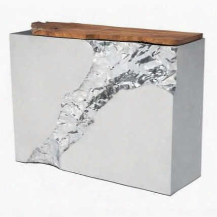 "100525 Luxe Collection 47"" Console Table With Stainless Steel Construction And Teak Wood Structure Material In Natural"
