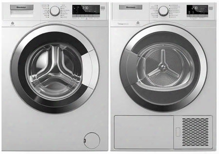 "2 Piece Laundry Pair With Wm98400sx 24"" Front Load Washer And Dhp24412w 24"" Electric Dryer In"