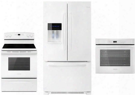 "3 Piece Kitchen Package With Aer6303mfw 30"" Gas Range Afi2539erw 36"" French Door Refrigerator And Awo6313sfw 30"" Single Wall Oveb In"