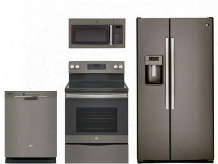 "4 Piece Kitchen Package With Jb645ekes 30"" Electric Range Jvm3160efes Over The Range Microwave Oven Gss25gmhes 36"" Side By Side Refrigerator And Gdf610pmjes"