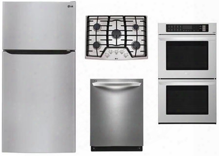 """4 Piece Kitchen Package With Lcg3011st 30"""" Gas Cooktop Lwd3063st 30"""" Electric Double Wall Oven Ltcs24223s 33"""" Top Freezer Refirgerator And Ldf8874st 24"""