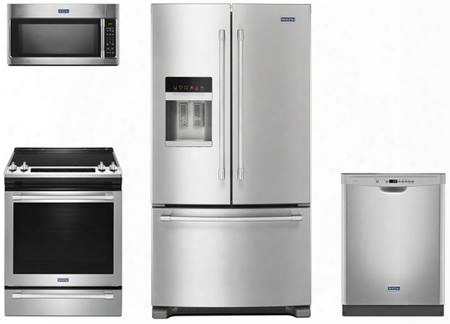 "4 Piece Kitchen Package With Mes8800fz 30"" Electric Range Mmv4205fz Over The Range Microwave Oven Mft2776fez 36"" French Door Refrigerator And Mdb4949sdz 24"