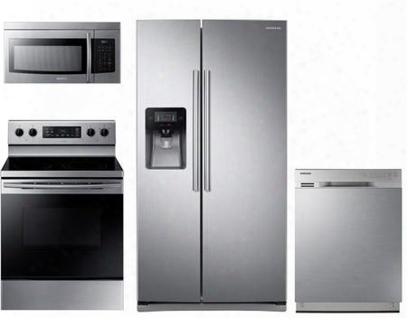 "4 Piece Kitchen Package With Ne59k3310ss 30"" Electric Range Me16k3000as Over The Range Microwave Oven Rs25j500dsr 36"" Side By Side Refrigerator And"