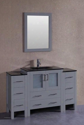 "Agr130bgu2s 54"" Single Vanity With Black Tempered Glass Top Integrated Sink F-s01 Faucet Mirror 2 Doors And 8 Drawers In"