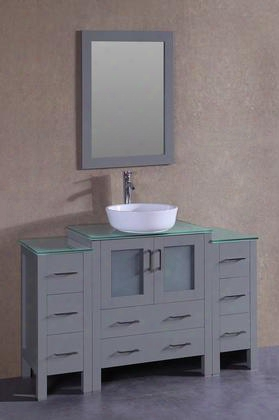 "Agr130bwlcwg2s 54"" Single Vanity With Clear Tempered Glass Rise Aloft Oval White Ceramic Vessel Sink F-s02 Faucet Mirror 2 Doors And 8 Drawers In"