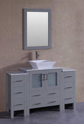 "Agr130sqcm2s 54"" Single Vanity With Carrara Marble Top Flared Square White Ceramic Vessel Sink F-s02 Faucet Mirror 2 Doors And 8 Drawers In"