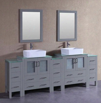"Agr230rccwg3s 96""  Double Vanity With Clear Tempered Glass Top Rectangle White Ceramic Vessel Sink F-s02 Faucet Mirror 4 Doors And 13 Drawers In"
