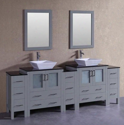 """Agr230sqbgxs 96"""" Double Vanity With Black Tempered Glass Top Flared Square White Ceramic Vessel Sink F-s02 Faucet Mirror 4 Doors And 13 Drawers In"""
