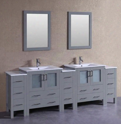 """Agr230u3s 96"""" Double Vanity With White Ceramic Top Integrated Sink F-s01 Faucet Mirror 4 Doors And 13 Drawers In"""
