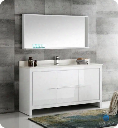 "Allierwh Collection Fvn8119wh-s 60"" Modern Bathroom Vanity With Mirror 2 Soft Closing Drawers And Undermount Ceramic Sink In"