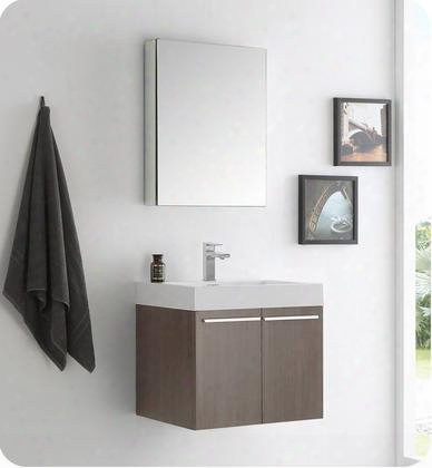 "Alto Collection Fvn8058go 23"" Modern Bathroom Vanity With Medicine Cabinet 2 Soft Closing Doors And Integrated Acrylic Countertop And Sink In Gray"