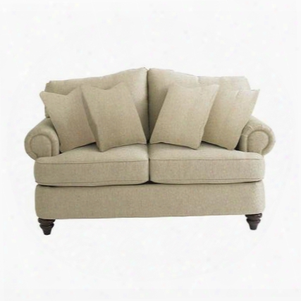 """Barclay Collection 39999-42fc/fc120-15 65"""" Loveseat With Fabric Upholstery Rolled Arms Turned Bun Feet Piped Stitching And Traditional Style In Sea"""
