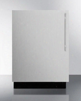 "Bi605ssvhlhd 24"" Ul Listed Undercounter Compact Refrigerator With 6.1 Cu. Ft. Capacity 3 Wire Adjustable Shelves Door Storage Manua Defrost And Adjustable"