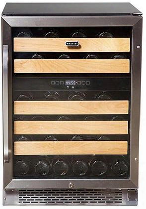 """Bwr-462dz 24"""" Dual Zone Wine Cooler With 46 Bottle Capacity 5 Wooden Shelves Temperature Memory Function And Tempered Double-gray Uv Protected Smoked Glass"""
