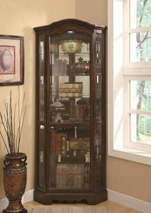 "Curio Cabinets Collection 950175 32.5"" Corner Curio Cabinet With 5 Glass Shelves Mirror Back Metal Hardware Shaped Crown And Base In Brown"