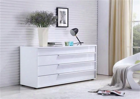 "Dolce Collection Tc-0210-d-wh 60"" Dresser With 4 Drawers Wooden Pulls And Medium-density Fiberboard (mdf) In White"