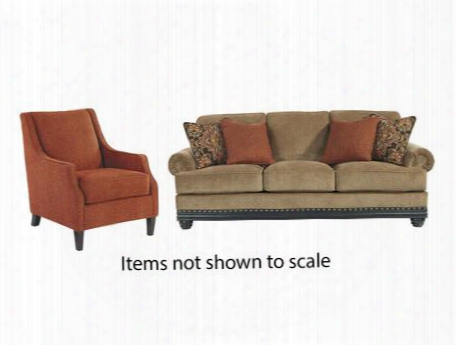 Elnora Collection 93702sac 2-piece Living Room Set With Sofa And Accwnt Chair In Umber And