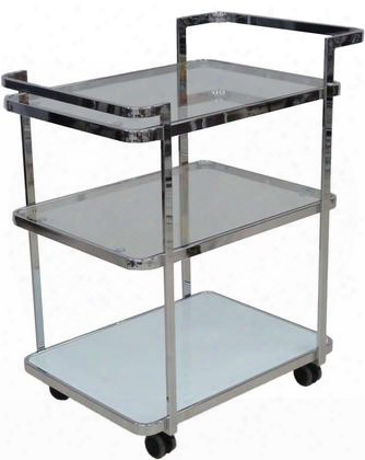 "Ferrara Collection Cb-d6009cart 24"" Bar Cart With Casters Glass Top Glass Shelves And Metal Construction In Chrome"